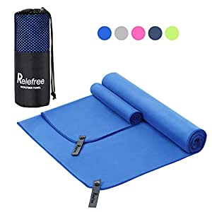 Relefree Microfiber Travel Towel Sports Gym Towel, Quick Dry, Super Absorbent, Lightweight, Ultra Soft Compact and Antibacterial for Camping, Hiking, Yoga, Gym, Backpacking, Beach & Swimming