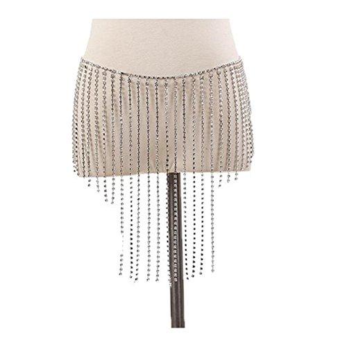 MineSign Sexy Belly Chain Womens Rhinestone Body Chain Jewelry Afro Style Swimsuit Bikini Bottom Silver