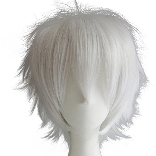Alacos Women Men Short Fluffy Straight Hair Wigs Silver White Anime Cosplay Party Dress Costume Wig+ Free Wig -