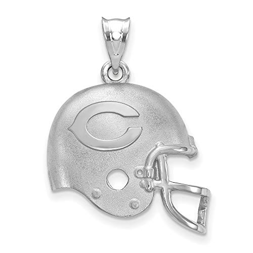 Q Gold NFL Sterling Silver LogoArt Chicago Bears Football Helmet with Logo Pendant