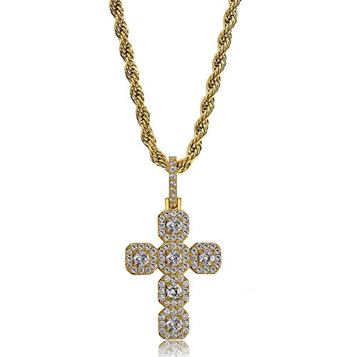Cross Baguette - TOPGRILLZ Tennis Cross Pendant 14K Gold Plated Baguette Iced Out Necklace Chain for Men and Women Fashion Gift (Gold Tennis Cross)