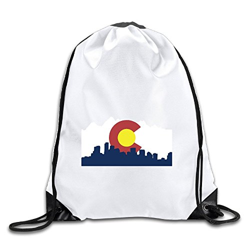 Colorado Denver Skyline Drawstring Backpack Bag Gym Sack ()