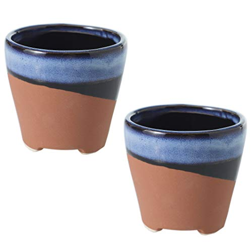 (Accent Decor Southwestern Blue Navy and Terra Cotta Small Pots - Set of 2 - 3 x 3 x 2.75 Inches - Azteca Collection - Modern Boho Vase for Home, Office, Event, and Wedding Decor)