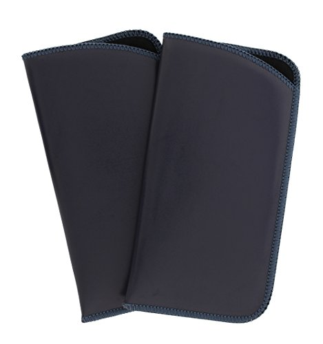 2 Pack Classic Faux Leather Eyeglass Slip Cases In Gray For Men And Women