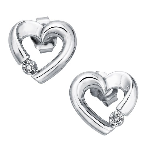 Diamond Accent Heart Earrings in 10K White Gold