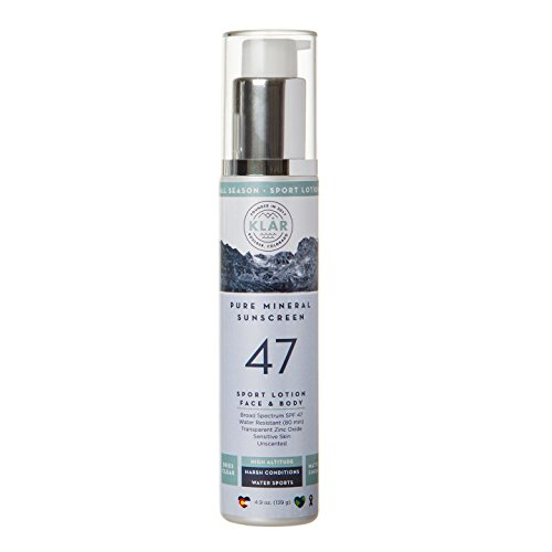 - KLAR Pure Mineral SPF 47 Sport Sunscreen - Face & Body Lotion. Broad Spectrum Protection. Very Sensitive Skin. Gentle, Soothing, Lightweight, Hypoallergenic, Nontoxic, Tear Free. Dries Clear.