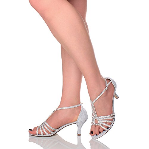 Diamante Evening Sandals Bridal Strappy Heel Shoes Glitter mid Wedding Size Silver Ladies t Bar Womens qBwSZg