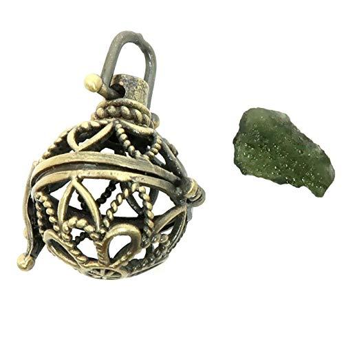 SatinCrystals Moldavite Pendant Boutique Genuine Green High Energy Meteorite Gemstone Treasure Cage Charm B01 (Fancy - Brass Globe Gemstone