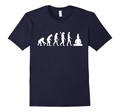 Mens Evolution buddha T-Shirt Medium Navy