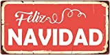StickerPirate 864HS Feliz Navidad 5'x10' Aluminum Hanging Novelty Sign
