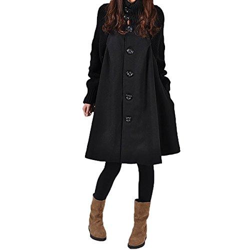 Ladies Swing Coat (SG Women Splicing Sweater Patchwork Wool Blend Cloak Single Breasted Swing Pea Coat)