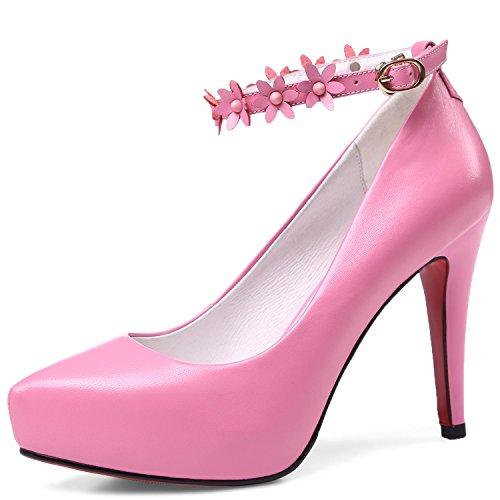 Donne Elegante Perla Punta In Caviglia A Alto Vera Spillo Sexy Pompe Di Fibbia Tacco Aguzza Delle Colore Rosa Fiori Pelle Superiore Vimisaoi Wq0wU5pZZ