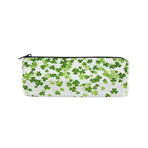 U LIFE Hello Lucky Day St Patrick Green Floral Four Leaf Clover Shamrock Pen Pencil Holder Case Bag Pouch Purse Cosmetic Makeup Bags