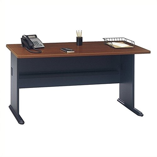 Bush Business Furniture Series A 60W Desk in Hansen Cherry and Galaxy Bush Cherry Modular Desk