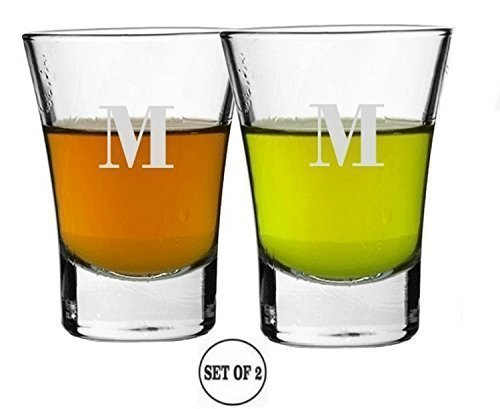 Cheap Shot Glasses Shooters Letter M Set Of 2 Etched Personalized Monogrammed Engraved Hand made