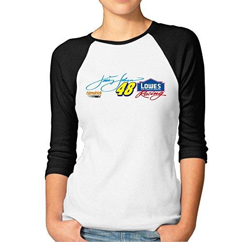 HOTOU Women's Jimmie Johnson 3/4 Sleeve Baseball T Shirts Black