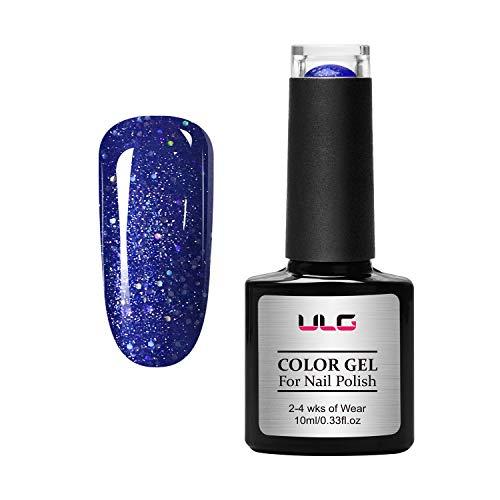 Gel Nail Polish Blue Glitter Color ULG 10ml UV LED Soak Off Gel Polish Nail Art Manicure Kit Gift Box Present for Wife Aunt Niece Daughter