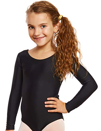 Leveret Girls Leotard Black Long Sleeve X-Large (12-14) -