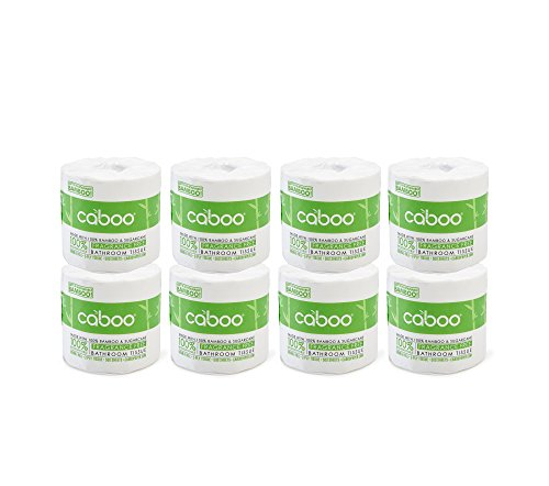 Caboo Tree Free Bamboo Toilet Paper, Septic Safe RV Bath Tissue, Eco Friendly Fast Dissolving Soft 2 Ply Sheets - 8 Rolls of 500 Sheets, Total 4000 Sheets