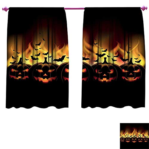 Vintage Halloween Room Darkening Wide Curtains Happy Halloween Image with Jack o Lanterns on Fire with Bats Holiday Waterproof Window Curtain W72 x L63 Black Scarlet ()