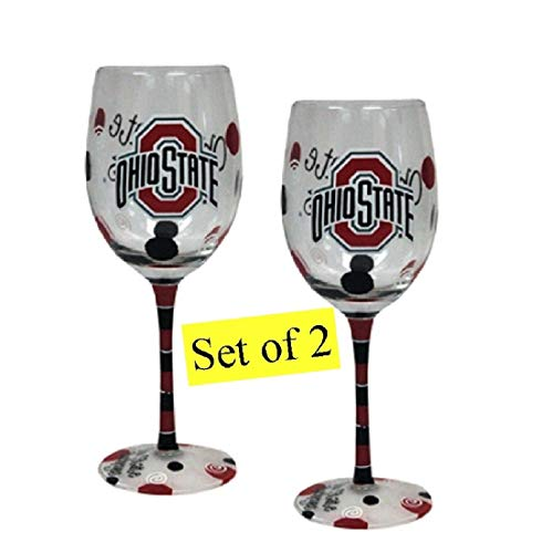 Ohio State Buckeyes Hand Painted Wine Glasses - Set of Two - State Ohio Buckeyes Beverage