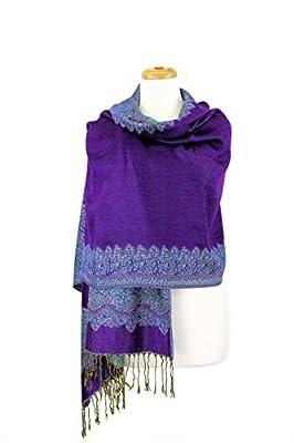 Paskmlna Border Pattern Double Layered Reversible Woven Pashmina Shawl Scarf Wrap Stole