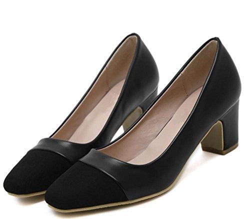 la 36 Alto de Zapatos Corte Mixed Zapatos de 37 Square con Shoes la Baja con Mid Tacón Toe Color XIE Boca de Single BLACK Mujer OdPSOxZ