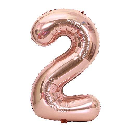 Tellpet Rose Gold Number 2 Balloon, 40 Inch -