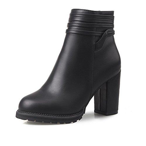 AllhqFashion Damen Reißverschluss Hoher Absatz PU Leder Blockabsatz Niedrig-Spitze Stiefel Schwarz