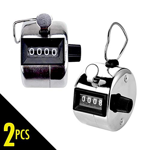 (2 pcs Hand Tally Counter, 4 Digit Number Resettable Handheld Pitch Click Counter Lap Tracker for Golf Score Baseball Attendance Event, Manual Mechanical Clicker with Finger Ring )