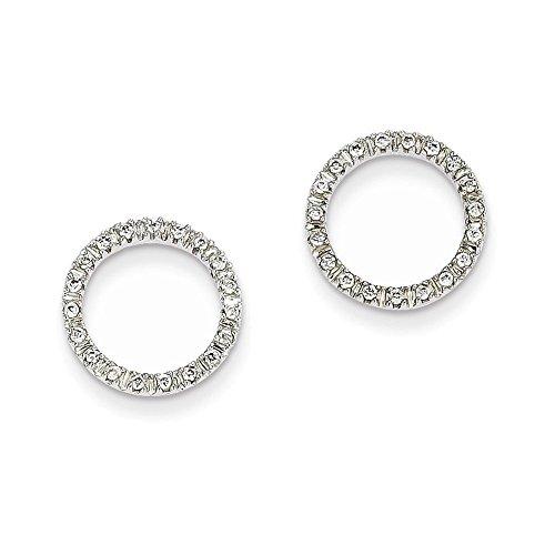 14K White Gold 1/8 Ctw Circle Diamond Earrings Diamond quality A (I2 clarity, I-J ()