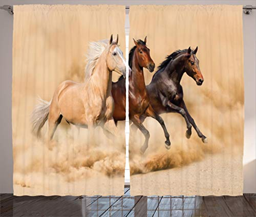 Ambesonne Animal Decor Collection, Three Horse Running in Desert Storm Mythical Mystical Messenger Animals in Habitat Print, Living Room Bedroom Curtain 2 Panels Set, 108 X 84 Inches, Cream Brown