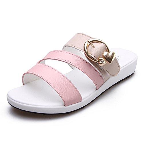 MEIDUO sandalias Los deslizadores ocasionales del estudiante femenino de los deslizadores del verano de los 3cm Las mujeres embarazadas deslizan los deslizadores frescos (negros, azules, rosados, amar Pink