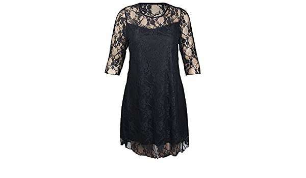 bbe28c44ae3f CimaMode Ladies Plus Size Floral Lace Lined 3 4 Sleeve Evening Swing Dress  14-28 at Amazon Women s Clothing store