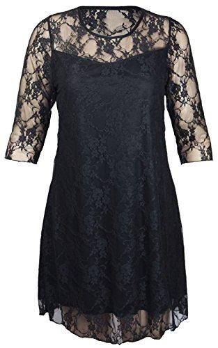 Top Fashion Damen Plus Größe Blümchenmuster Lace Swing-Kleid Gefüttert 3/4 Ärmel Stretch Fit Abendkleid Größe 42 bis 56