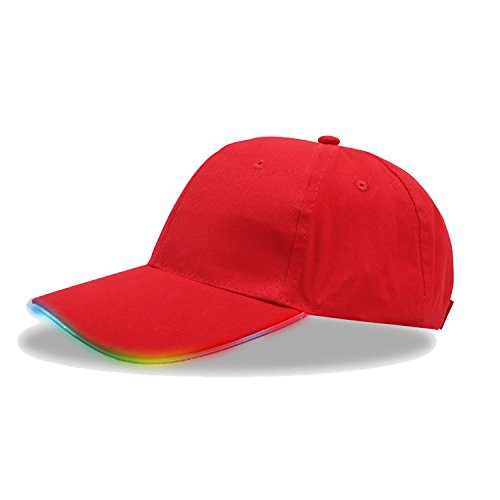 (LED Red Hat,TILO Multicolor LED Fiber Optic Illuminated Lights Light Stage Performance Tide Lighted Glow Club Sports Athletic Travel Tour Hat Baseball Bar Party Flash Cap (Colored))