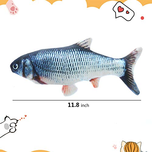 HLovebuy Catnip Fish Toys, Realistic Plush Simulation Electric Doll Fish,Cat Wagging Fish Realistic Plush Toy, Simulation Catnip Soft Interactive Chewing Toy for Cat/Kitty/Kitten 3