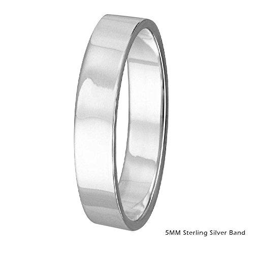5mm Men & Women Sterling Silver FLAT Wedding Band Ring, High Polish Finish (7)