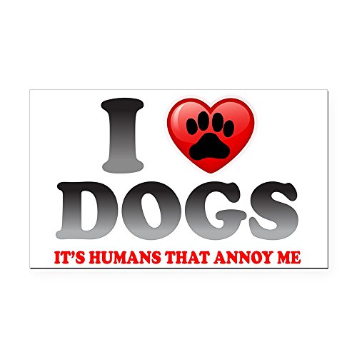 Rectangle Car Magnet Love Dogs It's Humans That Annoy Me