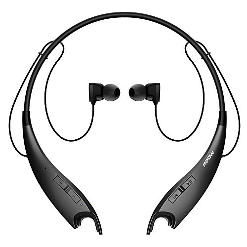 Mpow Jaws Gen-3 Bluetooth Headphones Wireless Neckband Headphones w/13 Hours Playtime & CVC 6.0 Noise Cancelling Mic,Wireless Neckband Headset w/Call Vibrate Alert,Bluetooth Magnetic Earphones, Black