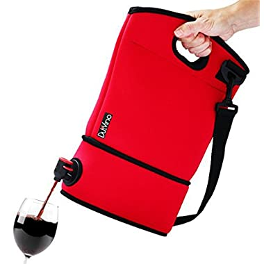 DuVino BAG IT! Neoprene Wine Tote Purse- Carrier for BYOB - Incl. 2 Disposable Baggies w/Spout - Holds 4 Bottles - Wine to Go Made Easy! (Red)