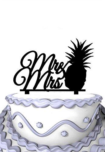 Meijiafei Pineapple Script Mr & Mrs Wedding Cake Topper Silhouette
