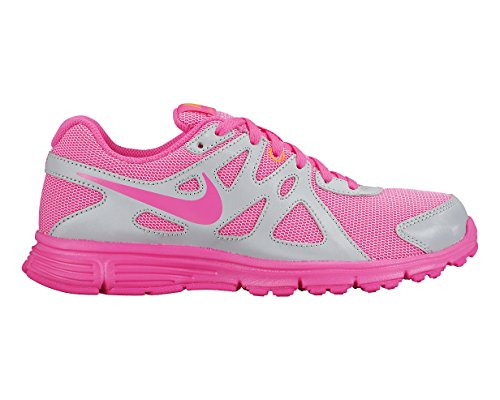 Nike Girls Revolution II Running Shoes-Metallic Plantinum/Pink Power-5.5 by NIKE