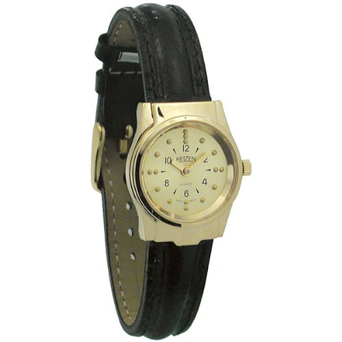 REIZEN Braille Womens Watch -Gold-Tone, Leather Band by Reizen