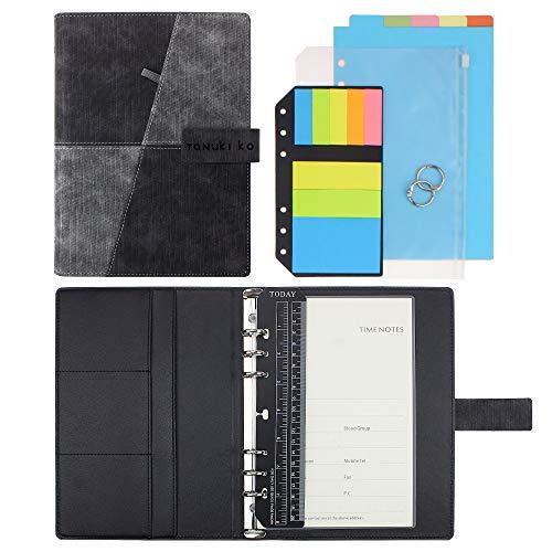 "SynLiZy A5 PU Leather Personal Organizer Undated Planner (A5 Dark Grey) 7.36"" x 9.44""(Paper Size 5.5""x 8.3"")"