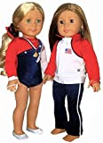 Doll Connections USA Gymnastics Warm Up Outfit Compatible with American Girl Dolls - Doll Clothes and Accessories that fit 18' dolls for girls including Our Generation, My Life (8 Pieces)