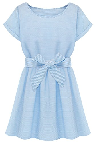 ACHICGIRL Women's Flattering A Line Solid Printed Skater Dress, X-Large Light Blue -