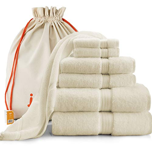joluzzy Exclusive 7-Piece Ivory Towel Set - 100% Long-Staple Turkish Cotton - High Absorbent 700 GSM - Soft & Plush - Luxury Hotel Quality - 2 Bath Towels, 2 Hand Towels, 2 Face Towels, 1 Floor Mat