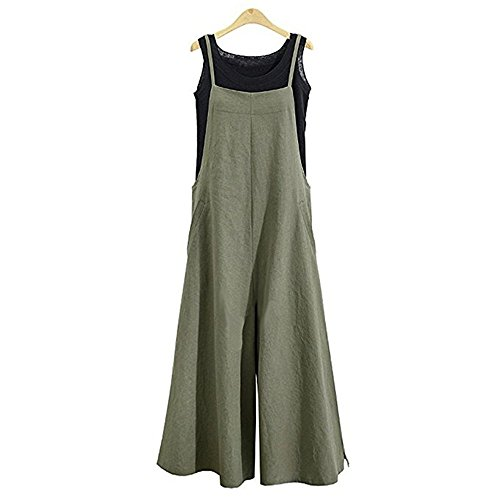 Aedvoouer Womens Casual Loose Suspender Baggy Overalls Jumpsuit Pants Plus Size Romper (M, Green-1)