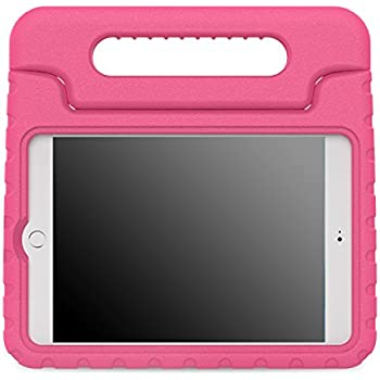 MoKo iPad Mini 4 Case - Kids Shock Proof Convertible Handle Light Weight Super Protective Stand Cover Case for Apple iPad Mini 4 2015 Tablet, MAGENTA